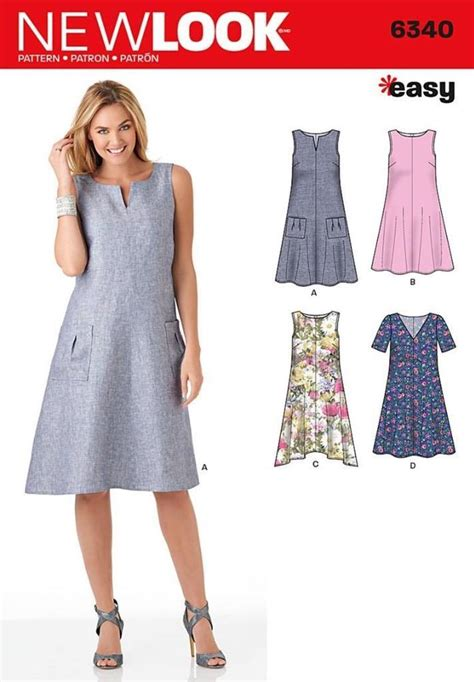 swing dress patterns new look sewing pattern easy trapeze shaped swing dress