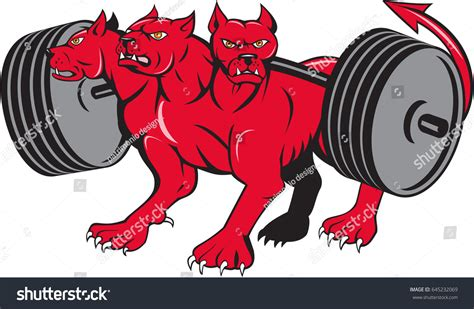 mythological dog cerberus vector illustration in cartoon style illustration cerberus greek roman mythology multiheaded