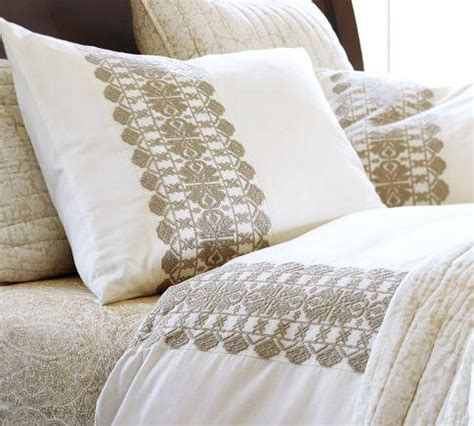 embroidered bedding embroidered stripe duvet cover sham sandalwood
