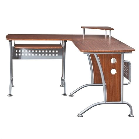techni mobili l shaped computer desk mahogany techni mobili l shape corner wood metal workstation
