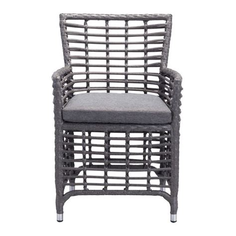 zuo sandbanks patio dining chair in gray set of 2 703646