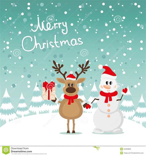 postcard snowman and reindeer stock photo image 34303850
