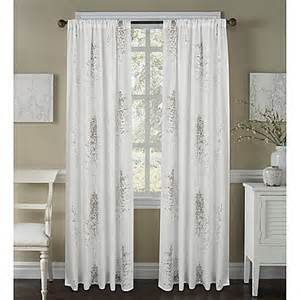 63 White Curtains Buy Janette 63 Inch Sheer Window Curtain Panel In White Grey From Bed Bath Beyond