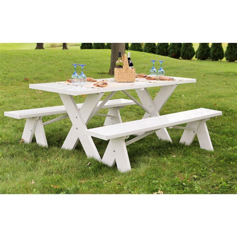 small picnic bench dura trel 6 ft white vinyl table with unattached plastic