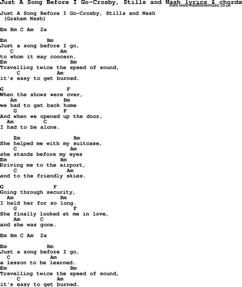 lyrics and song lyrics for just a song before i go crosby