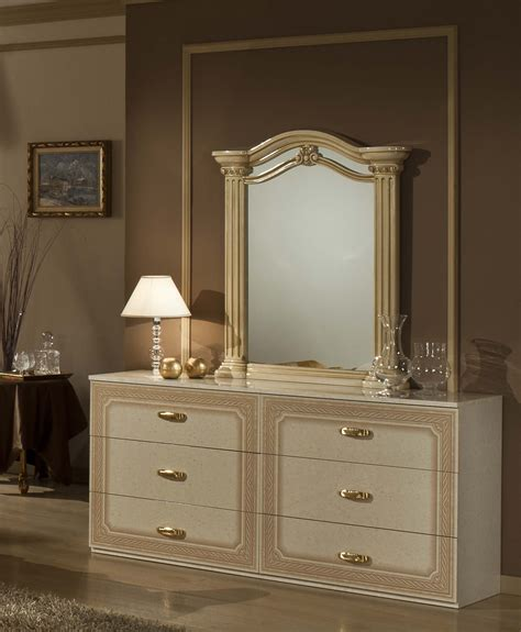 Gold Bedroom Set by Opera Italian Classic Beige Gold Bedroom Set