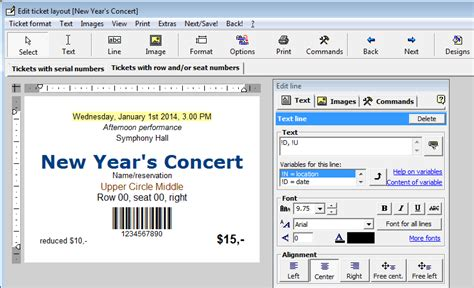 screen shots ticketcreator 5 11 shareware software