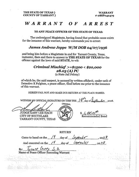 Criminal Search Warrant Blank Arrest Warrant Www Imgkid The Image Kid Has It