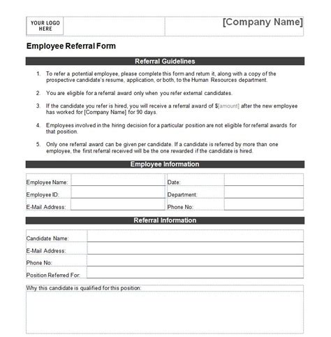 Referral Document Template by Employee Referral Form Employee Referral Form Template