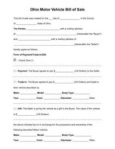 Motor Vehicle Bill Of Sale Template Pdf by Free Ohio Motor Vehicle Bill Of Sale Form Pdf Word