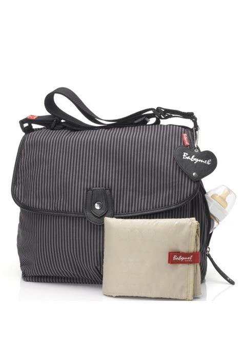 Babymell Camden Carry All Grey babymel satchel stripe canvas bag in grey stripe