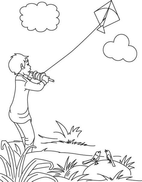 coloring book zip drive a boy flying kite on independence day of india