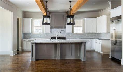White and Gray Kitchen with Quatrefoil Lanterns   Cottage