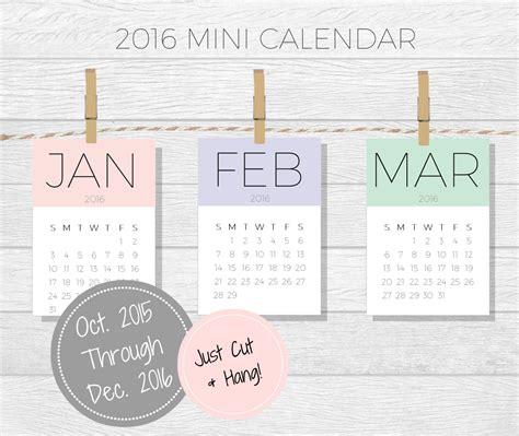 2016 printable mini calender 7 best images of 2016 mini calendar printable mini