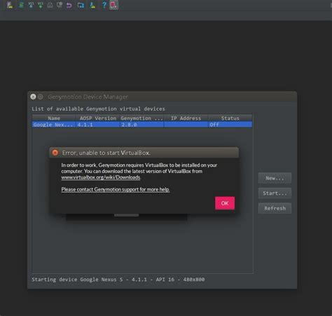 creating android studio plugin genymotion works well but start android studio plugin