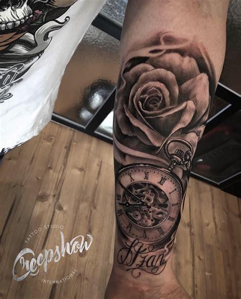 imagenes tatuajes reloj reloj y rosa