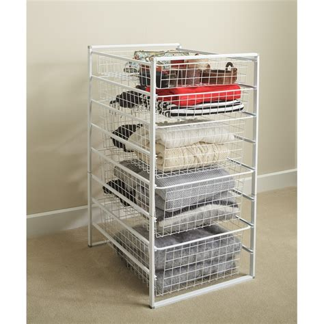 Wire Drawers For Closet by Clever Closet White 8 Runner Basket Kit I N 2581215
