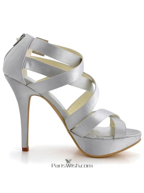 silver strappy evening sandals ultra high heel platform silver strappy evening prom