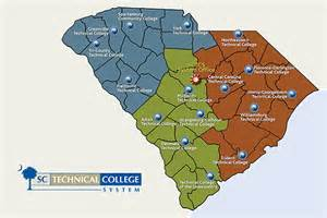 colleges in south carolina map map