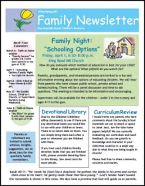 Church Newsletter Sles Three Great Ideas For Your Church Family Newspaper Template