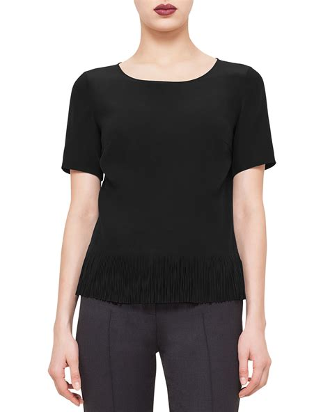 Fringe Hem Blouse lyst akris punto sleeve fringe hem blouse in black