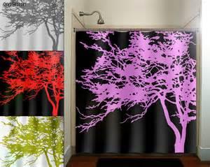 Pink tree black shower curtain bathroom decor by tablishedworks