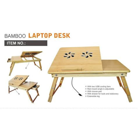bamboo laptop desk multi functional laptop reading bamboo stand with cooling fan