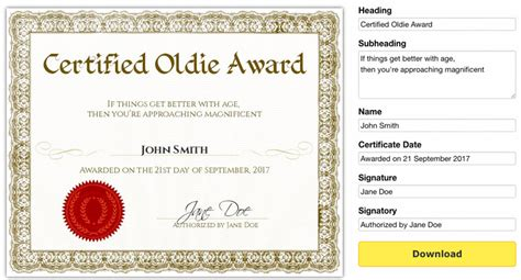 template for award certificate 50 amazing award