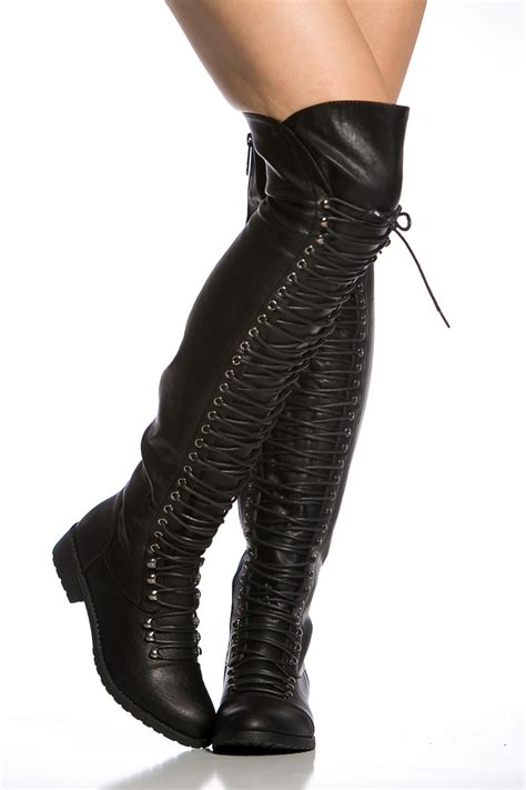 black faux leather thigh high combat boots cicihot boots
