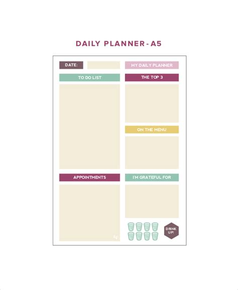 cute printable weekly planner template 6 cute daily planner templates free sle exle