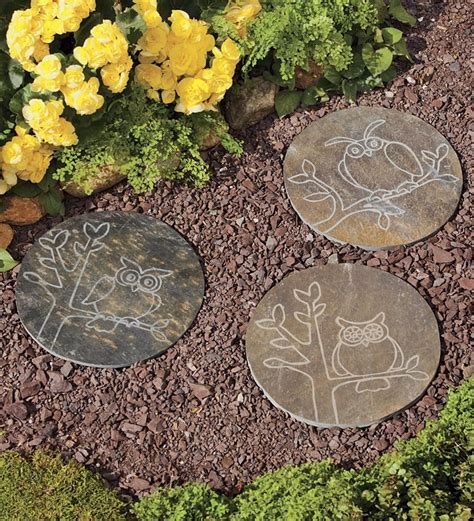 Backyard Stepping Stones by Slate Garden Stepping Stones With Owl Designs Pathways