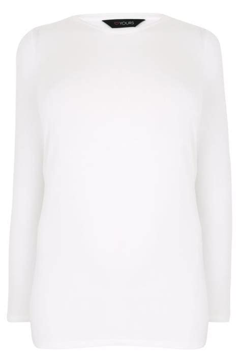 White Long Sleeve Soft Touch Jersey Top, plus size 16 to 36