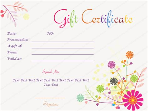 flower gift card template pin templates 6 business gift certificate templates to