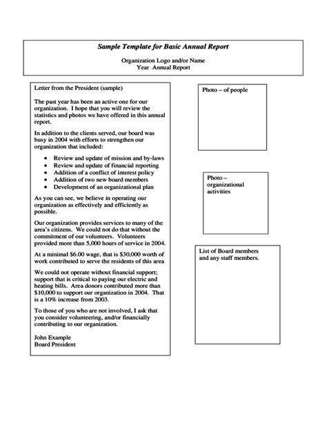 simple annual report template sle template for basic annual report free
