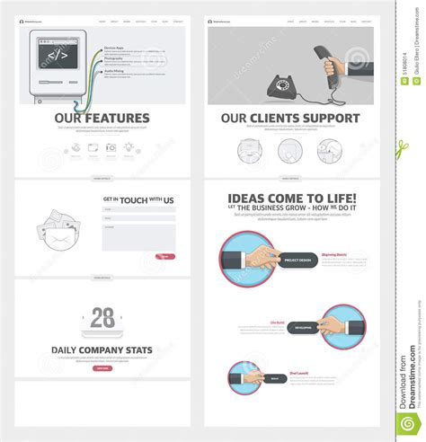 Two Page Website Design Template With Concept Icons And Avatars For Business Company Portfolio Portfolio Web Page Template