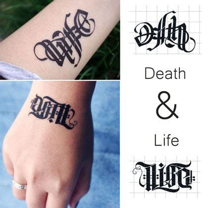 tattoo come to life app english gothic tattoos l death life and death upside down