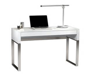 White Small Desks Small Rectangle White Top Writing Desk With Silver Metal Base Decofurnish