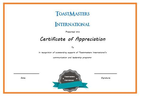 toastmasters certificate of appreciation template 50 professional free certificate of appreciation