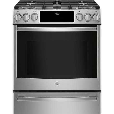Oven Gas 2 Tingkat ge profile 5 6 cu ft smart slide in gas range with self