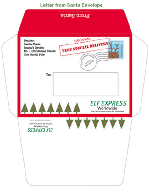 santa envelope template printable letter from santa mr printables