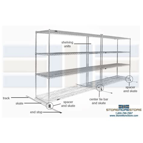 Moving Shelf by Manual Moving Wire Shelves On Rails Gliding Steel Wire Racks