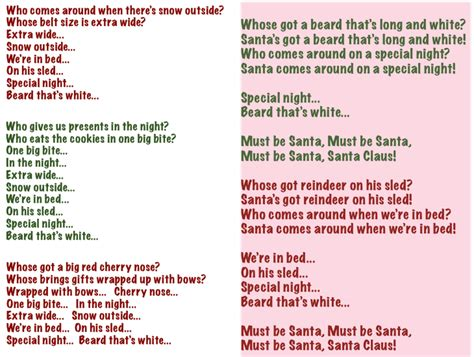 printable lyrics must be santa wonderland avenue music kindergarten quot must be santa