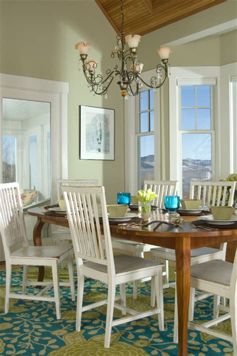 green dining room  white chairs interiors  color
