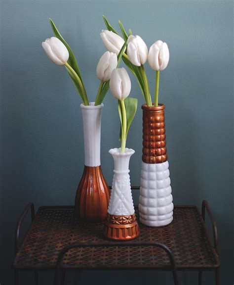 Diy Glass Vase L copper dipped milk glass vases 187 the merrythought