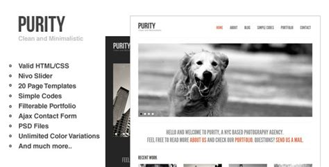 purity responsive clean minimal bold template by