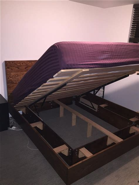 hand crafted storage bed  floating frame  bolt