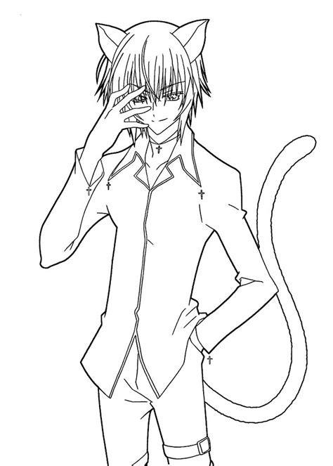 cat boy coloring page manga coloring pages cat boy coloringstar