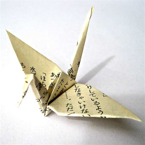 Vintage Origami Paper - unique origami cranes made from vintage japanese novel