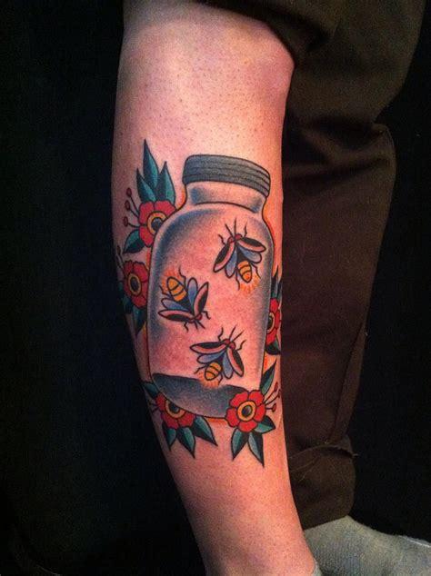 firefly tattoo fireflies in a jar traditional tattoos