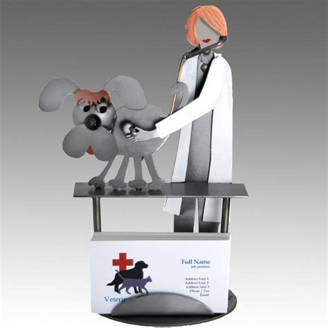 Whimsical Female Veterinarian Examining A Dog Metal Whimsical Desk Accessories